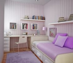 Small Master Bedroom Design Grey Covered Bed Covers Walls Painted Of White Wooden Bed Frame White Wall Paint For Girls Wooden Study Desk : Home Interior Decorating Ideas and Tiles Small Space Bedroom, Small Master Bedroom, Small Bedroom Designs, Master Bedroom Design, Small Spaces, Small Rooms, Bedroom Diy Teenager, Teen Girl Bedrooms, Teenage Room Decor