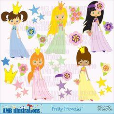 pretty princess clipart, clipart, commercial use, vector graphics, digital clip art, digital image, -  via Etsy http://www.etsy.com/shop/AMBillustrations?ref=si_shop