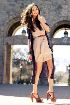 long sweater, short dress, wooden heels. perfect for the wind and a sunny day.