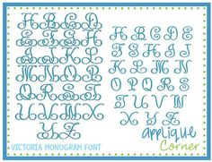 INSTANT DOWLOAD Victoria Monogram Font in pes and dst only digital design for embroidery machine by Applique Corner on Etsy, $4.50