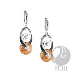 .925 sterling silver Unique Arch and Circle Citrin Earrings on last call from GWT Galleries, FERI Designer Lines. $263.00