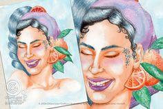 Mesi Illustrati: Gennaio #visodidonna #ritratto #illustrazione #bellezza #fiori #frutti #foglie #mesidellanno
