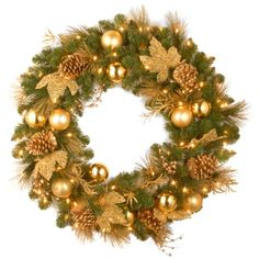 National Tree DC13109L36W 36Inch Decorative Collection Elegance Wreath with 100 Clear Lights ** More info could be found at the image url.