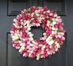 Spring Wreath- Spring Decoration- Outdoor Mother's Day Wreath- 20 inch Pink Custom Wreath- Spring Wreath for Door Mothers Day Wreath, Valentine Day Wreaths, Easter Wreaths, Valentines, Le Gui, Spring Decoration, Spring Front Door Wreaths, Spring Wreaths, Tulip Wreath