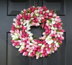 BEAUTIFUL tulip wreath for #ValentinesDay. Great way to decorate your front door for V-Day sans hearts - You can find this wreath on #Etsy by ElegantHolidays!