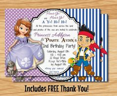 *Custom Made Jake and the Neverland Pirates & Sofia The First Twin or Double Birthday Invitation*      ***************Print Sizes***************