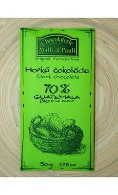 BIO Hořká čokoláda Guatemala 70%. Využijte naší dopravy zdarma při nákupu  nad 890 Kč nebo výdejního místa v Praze zdarma. Chocolate, Schokolade, Chocolates