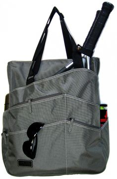SlamGlam - Maggie Mather Pewter Super Tote Tennis Tote Bag.  The Super Maggie Tote is not better just bigger. Coming Soon!