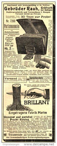 Original-Werbung/Anzeige 1912 - PORTEMONNAIE / MESSER / GEBRÜDER RAUH GRÄFRATH BEI SOLINGEN  - ca. 90 x 230 mm