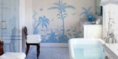 The Everything-You-Need-To-Know Bathroom Renovation Checklist  - Veranda.com Love the mural, wallpaper or original paint?