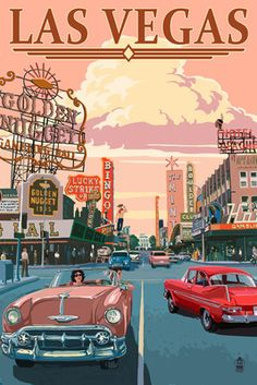 Las Vegas Old Strip Scene - Lantern Press Poster