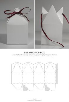 Gift Box Pyramid Top Box - Packaging & Dielines: The Designer& Book of Packaging Die. Packaging Dielines, Gift Packaging, Packaging Design, Product Packaging, Paper Packaging, Retail Packaging, Diy Paper, Paper Crafts, Diy Gifts
