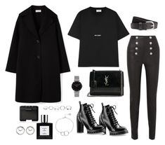 """Untitled #5389"" by theeuropeancloset ❤ liked on Polyvore featuring Yves Saint Laurent, Balmain, H&M, Topshop, GUESS, Chupi, NARS Cosmetics and Alexander Wang"