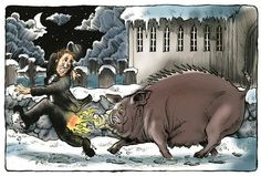Gloso-  Swedish folklore: a huge sow or female pig that has sharp bristles lining its back, red eyes, forward pointing tusks, and an ability to breath fire. It is a soul that is bounded to a church and it guards it for all eternity. It is at its most strongest at Christmas or New Years.