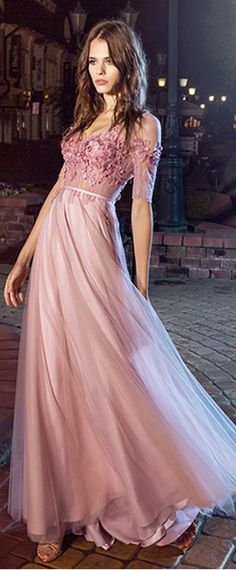 Gorgeous Tulle V-neck Neckline Floor-length A-line Evening Dresses With Lace Appliques