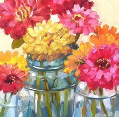 DPW Fine Art Friendly Auctions - Consensus Taken by Libby Anderson Easy Flower Painting, Flower Art, Watercolor Flowers, Watercolor Paintings, Jar Art, Watercolor Projects, Autumn Painting, Fine Art Auctions, Small Paintings
