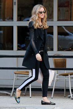 Chic: Palermo is known for her fashion just as much as her socialite ways, and looked stylish as ever in a mostly black outfit