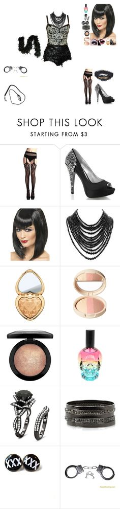 """""""Burlesque night, the warrior, seconed number"""" by frostedrose ❤ liked on Polyvore featuring Tom Binns, Too Faced Cosmetics, Laura Geller, MAC Cosmetics, Hot Topic and River Island"""