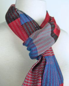 Red, Gray & Blue Sampler Scarf - Handwoven by Loomination