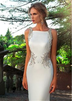 Buy discount Alluring Tulle & Acetate Satin Bateau Neckline Mermaid Wedding Dress With Beaded Embroidery at Laurenbridal Evening Dresses, Prom Dresses, Formal Dresses, Bridal Gowns, Wedding Gowns, Tulle Wedding, Embroidery Dress, Beaded Embroidery, Bateau Neckline