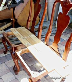 #diylikeaboss Curbside Chairs Remade Into a Bench