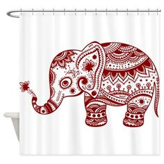 Elephant Animal Shower Curtain White Bathroom Curtain Waterproof Mildew Polyester Shower Curtain with Hooks Wholesale