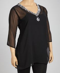 Take a look at this Black & Silver Beaded Sheer Tunic - Plus by Life and Style Fashions on #zulily today!
