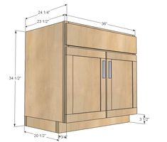 Ana White Build a Kitchen Cabinet Sink Base 36 Full Overlay Face Frame Free and Easy DIY Project and Furniture Plans Kitchen Cabinet Dimensions, Kitchen Cabinet Sizes, Building Kitchen Cabinets, Kitchen Base Cabinets, Built In Cabinets, Diy Cabinets, Stairs Kitchen, Kitchen Cupboard, Kitchen Sinks