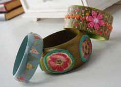Mod Podge bangle bracelets