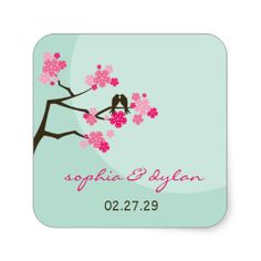 fatfatin Cherry Blossoms Love Birds Wedding Sticke Stickers