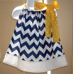 baby dress Girls dress kids childrens clothes pillowcase dress girls dress university of michigan dress Chevron on Etsy, $26.00