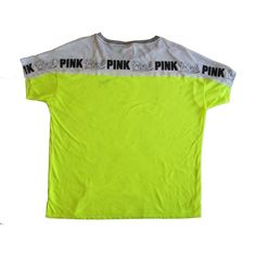 Victoria's Secret PINK Boyfriend Crewneck Tee Shirt Neon Yellow /... ($15) ❤ liked on Polyvore featuring tops, t-shirts, victoria secret t shirts, white top, crewneck t-shirt, white boyfriend t shirt and white tee