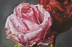 "Robert Lemay PINK AND RED ROSES / Canada House Gallery - oil, canvas 16"" x 24"""