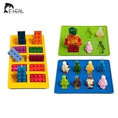 3 Pçs/set Bolo Moldes Bandeja de Cubos de Gelo de Silicone Lego Robô Tijolos para Construção Puncake Dos Doces de Chocolate Do Molde Ferramentas de Cozimento Bakeware