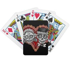 Sugar Skull Couple Heart Playing Cards by thaneeyamcardle