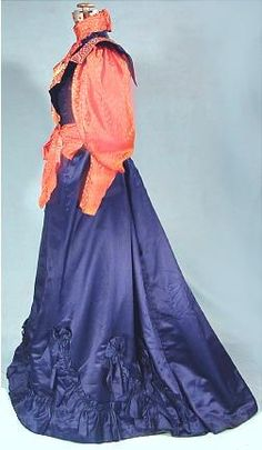 c. 1896 Royal Blue Satin and Coral Pink Patterned Silk Victorian Afternoon Gown