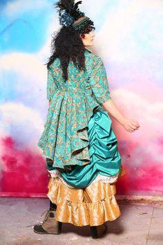 Arleen Jacket in Teal and Gold Vine – Damsel in this Dress Corsets Damsel In This Dress, Teal And Gold, Steampunk Costume, Corsets, Vines, Costumes, Coat, Sleeves, How To Wear