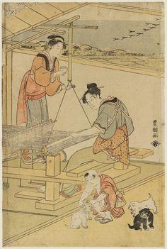 Artist: Utagawa Toyokuni I Title:Women Weaving and Boy Playing with Puppies