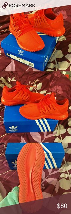 Red Adidas Tubular Mens Size 8 all red Adidas tubular radial .. 10/10 condition worn one time just doesn't like the way they fit him .. he is usually an 8.5 they run alittle big no scratches or anything wrong with them adidas Shoes Sneakers