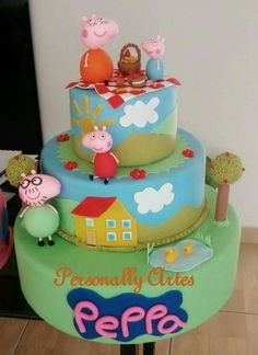 Bolo peppa pig em biscuit Peppa Pig, Biscuit, Birthday Cake, Desserts, Cakes, Party, Pies, Tailgate Desserts, Deserts