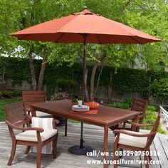 jual meja payung terbaru merupakan meja payung yang di desain dengan konsep outdoor furniture berbahan kayu jati solid dilengkapi dengan payung