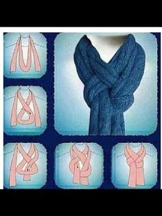 Great way to tie a scarf! I'm using this the next time I knit a nice scarf. If I'm gifting the scarf, I'll add sketches of this (and some other scarf knots) to the card. Look Fashion, Diy Fashion, Ideias Fashion, Fashion Beauty, Winter Fashion, Fashion Tips, 1950s Fashion, Vintage Fashion, Fashion Hacks