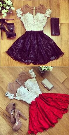 2018 Homecoming Dress Red Black Short Sleeve Short Prom Dress Party Dress on Luulla Red Homecoming Dresses, Hoco Dresses, Event Dresses, Prom Party Dresses, Dance Dresses, Pretty Dresses, Beautiful Dresses, Dress Outfits, Dress Party