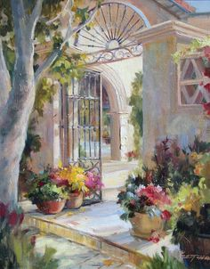 "Betty Carr's light bathed Tlaquepaque (Sedona AZ) painting ""Light Path"""