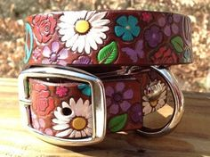 Hippie Leather Dog Collar - Peace Sign - Daisies - Hand Painted - Embossed  on Etsy, $49.00