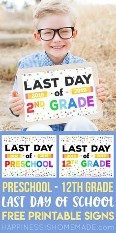 Free Printable Last Day of School Signs - Looking for Free Printable Last Day of School Signs for the end of school? Weve got you covered with these super cute last day of school signs for ALL grades preschool through college! First Day School, End Of School Year, School Days, School Stuff, Pre School, Homeschool High School, Homeschooling, Beach House Style, Back To School Organization