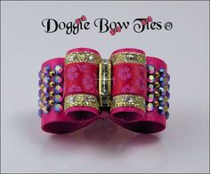 """In Between size Show Dog Bow  """"Hot Pink Floral Band"""""""