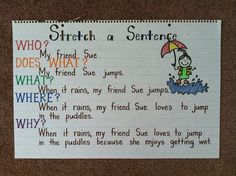 stretch a sentence...my first graders can do this.