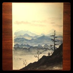 Watercolor Mountain View Painting Simple 9 x 12 watercolor painting of a peaceful mountain landscape. Other