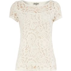 Alice & You Cream lace tee ($17) ❤ liked on Polyvore featuring tops, shirts, t-shirts, blouses, cream, lace shirt, zipper top, zip top, lacy tops and cream lace top